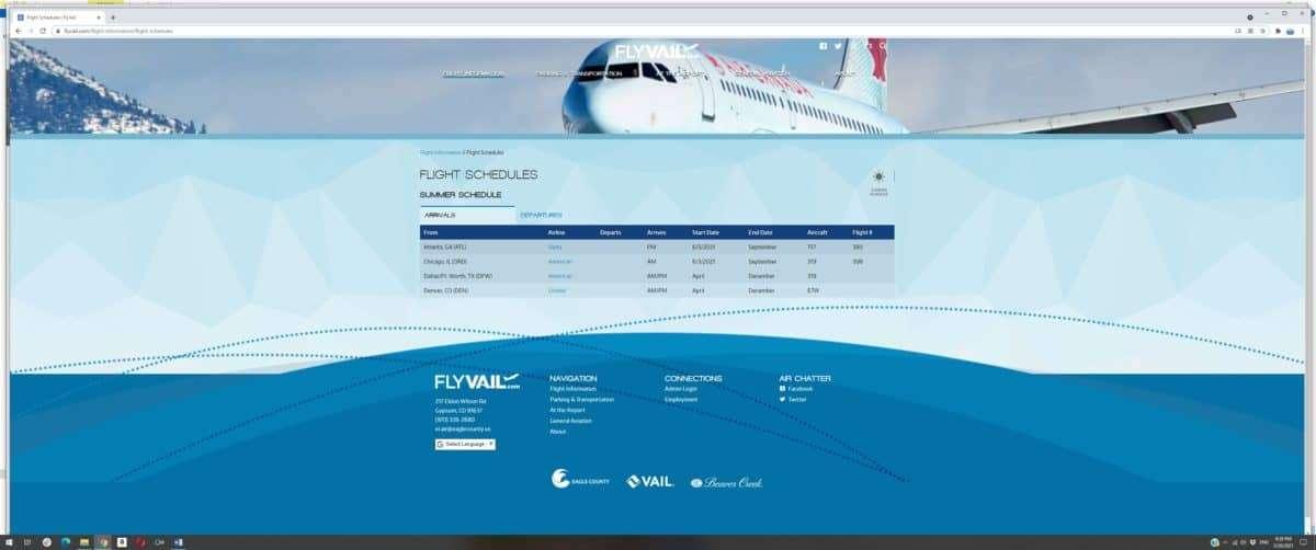 Eagle Vail Flight Schedule