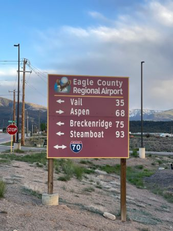Closest Airport to Vail The closest airport to Vail is Eagle County Regional Airport (EGE), and it is located 35 miles away. Other nearby airports include Aspen Pitkin County Airport (ASE) (98 miles), Yampa Valley (HDN) (100 miles), Denver International Airport (DEN) (122 miles) and Grand Junction Regional Airport (GJT) (147 miles).